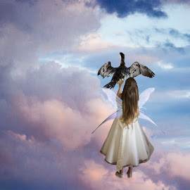 by Lynnie Taylor - Digital Art People ( bird, clouds, wings, colourful sky )
