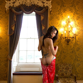 Hotel Deluxe by Mike Lloyd - Nudes & Boudoir Boudoir ( luxury, girl, window, undress, hotel, women, lady, red )