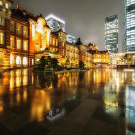 Tokyo Station by Nyoman Sundra - City,  Street & Park  Historic Districts ( japan, station, tokyo, historic district, night, city )