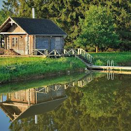 On the lake by Tomasz Budziak - Buildings & Architecture Homes ( buildings, latvia, house, lake, home )