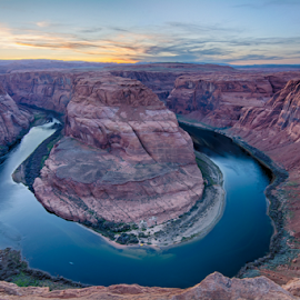 Sunset at Horseshoe Bend by Heather Diamond Ryan - Landscapes Sunsets & Sunrises ( colorado river, lake powell, nature, page, arizona, beautiful, vista, rock horseshoe bend, rock, beauty, horseshoe bend, landscape )