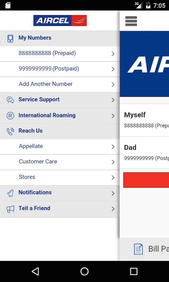 Aircel App Screenshot 1