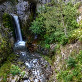 Christine Falls by Kent Moody - Landscapes Forests ( waterfalls, creek, bridge, washington, mount rainer )