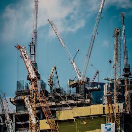Constructing by Edi Libedinsky - Buildings & Architecture Bridges & Suspended Structures ( building, skyscrapper, cranes, crane, cityline, construction )