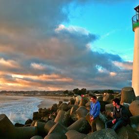 Lookout by Derek Gibbins - Instagram & Mobile iPhone ( cliffs, sunset, lighthouse, ocean, beach )