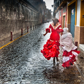 sevillanas by Vito Dell'orto - City,  Street & Park  Street Scenes ( model, flamenco, red, sevilla, rain, triana )