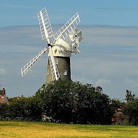 Norfolk Windmill by Bob White - Buildings & Architecture Public & Historical ( wind, blue sky, windows, windmill,  )