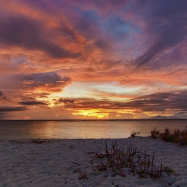 Beach Sunset by Yossy Ryananta - Landscapes Cloud Formations ( sand, red, sunset, cloud, beach )