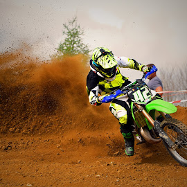 Sliding by Marco Bertamé - Sports & Fitness Motorsports ( curve, turn, sliding, drifting, motocross, clump, dust, acceleration, cloud, race, outside, competition,  )