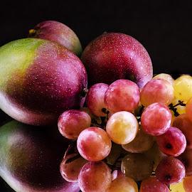 Still life by Prasanta Das - Food & Drink Fruits & Vegetables ( grapes, still life, mangoes )