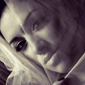 Wedding Preperation by Neil Balderson - Wedding Bride ( desire, wedding, veil, loving, eyes )