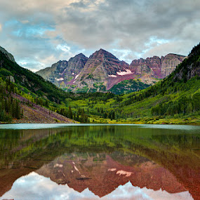 Maroon Bells by Tom Cuccio - Landscapes Mountains & Hills ( reflection, maroon bell, landscape, spring, aspen )