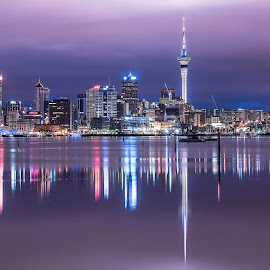 Auckland City pre sunrise by Wayne Boardman - City,  Street & Park  Skylines ( clouds, calm, waterscape, blue hour, auckland, buildings, city lights, architecture, sunrise, cityscape, new zealand, early morning )