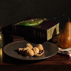 Still life with leaf by Sorin Tandareanu - Artistic Objects Still Life ( indoor, stilllife, vintage, still life, book, walnuts, pear )