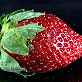 Strawberry #1 by Cal Brown - Food & Drink Fruits & Vegetables ( fruit, red, green, still life, food, strawberry, close up )