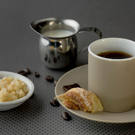 Morning Expresso by Jim Downey - Food & Drink Alcohol & Drinks ( expresso coffee, coffee beans, sweet roll, milk, sugar )