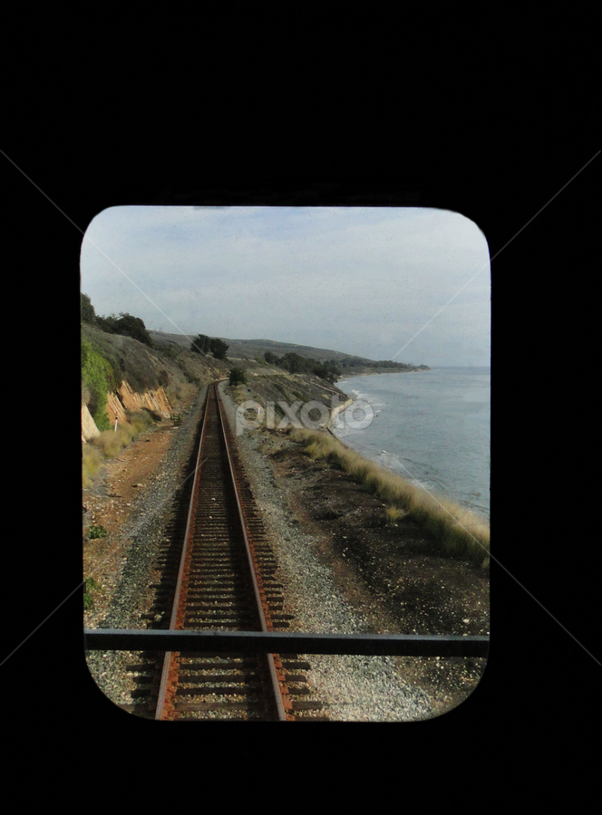 The Rear View by Liz Rosas - Transportation Trains ( window view, caboose, coastal california, coast, railroad track )