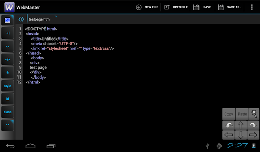 WebMasters HTML Editor - screenshot