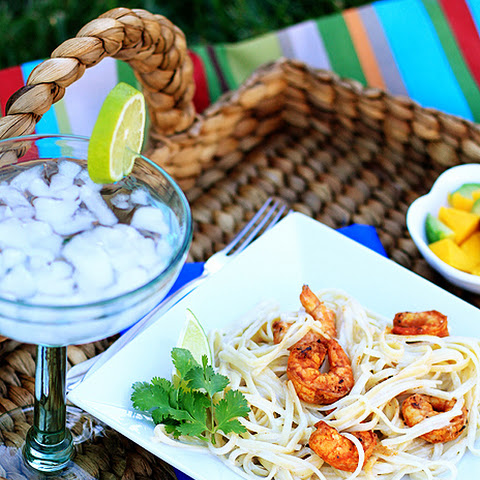 Spicy Chipotle Grilled Shrimp with Creamy Garlic Pasta