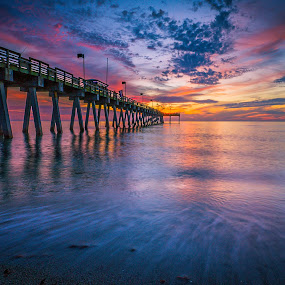 Sunset at the Fishing Pier by Bill Camarota - Landscapes Sunsets & Sunrises ( clouds, colorful, sunset, florida, gulf, pier, dusk )