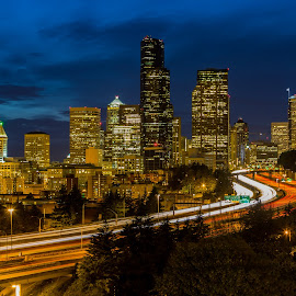 Seattle at Night by Bill Kuhn - City,  Street & Park  Skylines ( interstate, seattle, buildings, light trails, long exposure, night, cityscape, downtown, city )