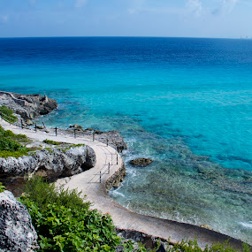 Isla Mujeres, Cancun, Mexico by Stephanie Walsh - Landscapes Waterscapes ( cancun, turquoise water, city line, ocean path, island mujeres, mexico, tropical, beach, travel, isla mujeres, paradise, womens island )
