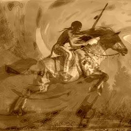 Cherokee Nation Sepia by Vince Scaglione - Digital Art People ( sepia, american indian, digital art, nation, cherokee, native american )