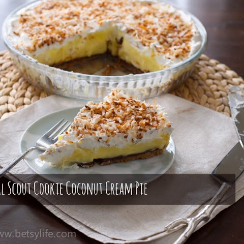 Coconut Cream Pie with a Girl Scout Cookie Shortbread Crust