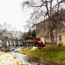 Christmas at Brightwell Mill by Norma Brandsberg - Buildings & Architecture Public & Historical ( william, old, www.elegantfinephotography.com, burford, stone, historic, mill, season greeting, autumn, family, photographer, weekend, card, virginia, miller, wreath, heights, madison, amherst, flag, brandsberg, dam, scene, antique, brightwell, lynchburg, waterfall, waterwheel, ground, sawmill, road, landscape, photography, area attraction, american, do, trip, merry christmas, top, photographic, charlottesville, picturesque, christmas, friendly, scenic, photo, gristmill, wooden, flour, color, grain, vista, fall, lumber, norma, things, tour, atmospheric )