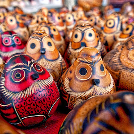 Two Red Owlies by Richard Duerksen - Artistic Objects Other Objects ( peru, juliaca, altiplano, owlsgourds, owls, crafts, carveings )