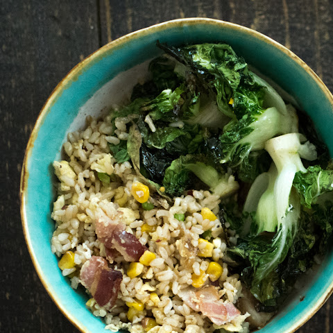 Bacon Fried Rice with Roasted Bok Choy