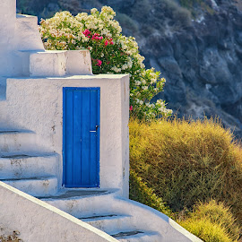 Blue Door by Dan Herman - Buildings & Architecture Architectural Detail ( greece, oia, blue door, santorini )