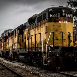 Seven Engines by Liam Douglas - Transportation Trains ( social circle, csx, county, railroad, engines, railyard, walton, ga., trains,  )