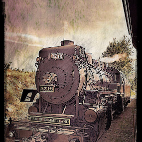 Kettle Valley Steam Train by Pam Blackstone - Digital Art Things ( railway, vintage, locomotive, steam train, digital art, train, vintage photo )