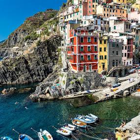 Riomaggiore in Cinque Terre by Arif Sarıyıldız - City,  Street & Park  Vistas ( cinque terre, colored houses, liguria, riomaggiore, italy )