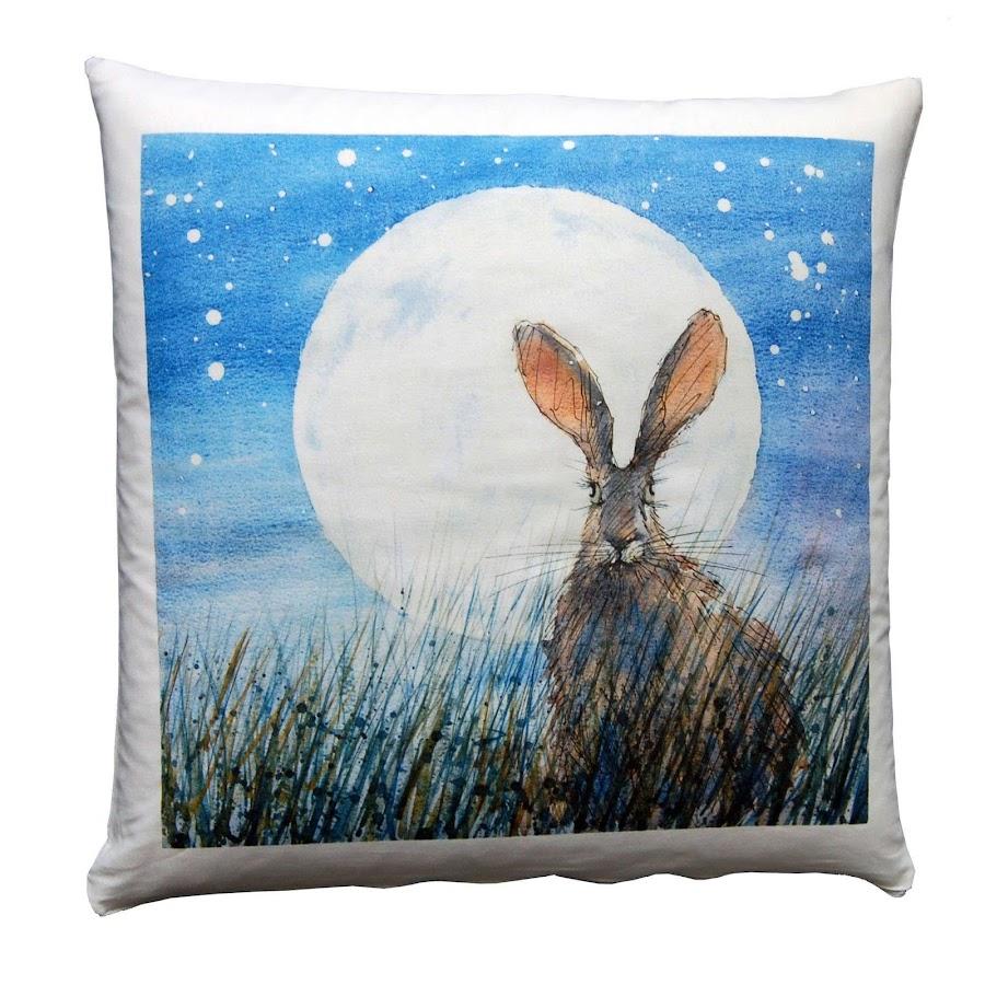 Moon hare rabbit cushion rustic British shabby chic design