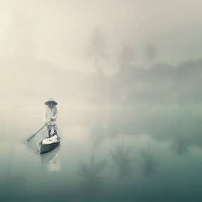 Leaving by Amril Nuryan - Digital Art Places ( fog, rowing, digital art, landscape, digital editing, boat, people, myst )
