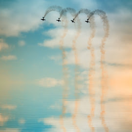 Plane Reflections by Dominic Wade - Transportation Airplanes ( clouds, the blades aerobatic display team, reflection, adobe photoshop, skies, aviation, sky, plane, sunderland international airshow, north east england, manipulated image, enhanced image, sunderland, tyne & wear )