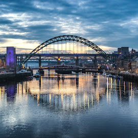 Sunset On The Tyne by Adam Lang - City,  Street & Park  Vistas ( river tyne, blue hour, sunset, tyne bridge, the tyne )