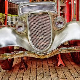 Tire Trouble by James Kirk - Transportation Automobiles ( drive, brick, filling station, jacks, antique car )