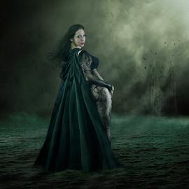 Night Siren by Marie Otero - Digital Art People ( model, surrealism, night scene, www.marieotero.com, digital, ryan hathaway, fantasy, siren, female, digital art, castle, night, surreal, otero )
