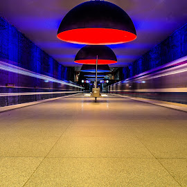 Passing Trains by Lukas Proszowski - City,  Street & Park  Street Scenes ( lights, urban, subway, station, tube, train, underground, serenity, blue, mood, factory, charity, autism, light, awareness, lighting, bulbs, LIUB, april 2nd )