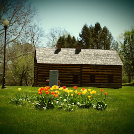 Swatara Ferry House by Dale Moore - Buildings & Architecture Homes ( history, home, historic district, pennsylvania, flowers, log cabin, historic )