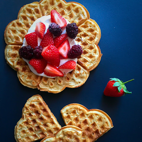 Barley Waffles With Sour Cream & Strawberries