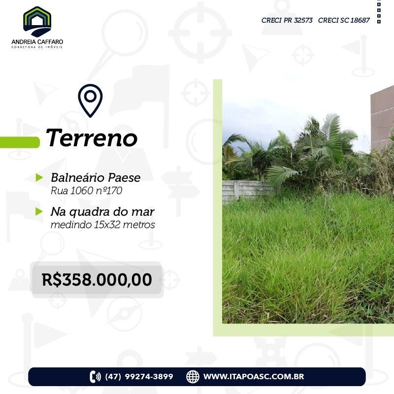 Terreno à venda, 480 m² por R$ 358.000 - Paese - Itapoá/SC