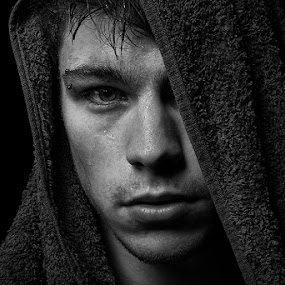Wet by Angi Wallace - People Portraits of Men ( model, headshot, masculine, male, towel, wet, handsome, portrait )
