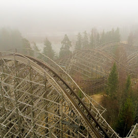 wooden coaster in the fog by Michael Graham - City,  Street & Park  Amusement Parks ( wooden roller coaster, amusement park, amusement ride, fog, theme park, roller coaster, wooden coaster, norway,  )