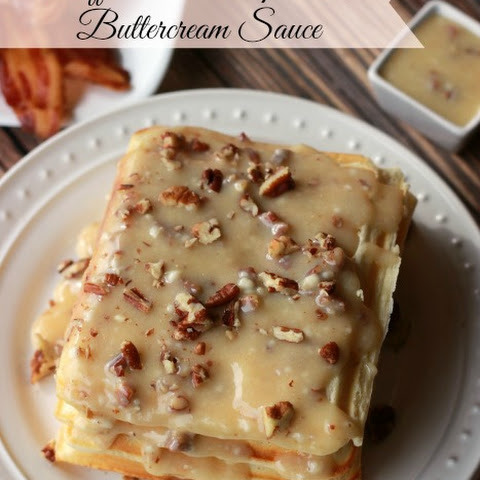 Waffles with Maple Nut Buttercream Sauce