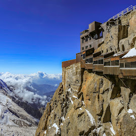 Chamonix by Nikolas Ananggadipa - Buildings & Architecture Public & Historical ( building, europe, blue sky, mountain, blue, buildings, france, day, architecture, mont blanc, daylight )