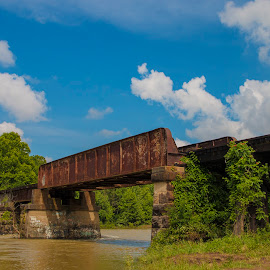 Arkansas & Missouri Railroad bridge by Greg Reeves - Landscapes Travel ( railroad tracks, railroad, a&m railroad, landscape, railroad bridge,  )